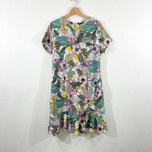 NWT Tropical Floral Stretch Ruffle Dress Size XL